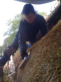 Apprentice dressing a line of wheat reed